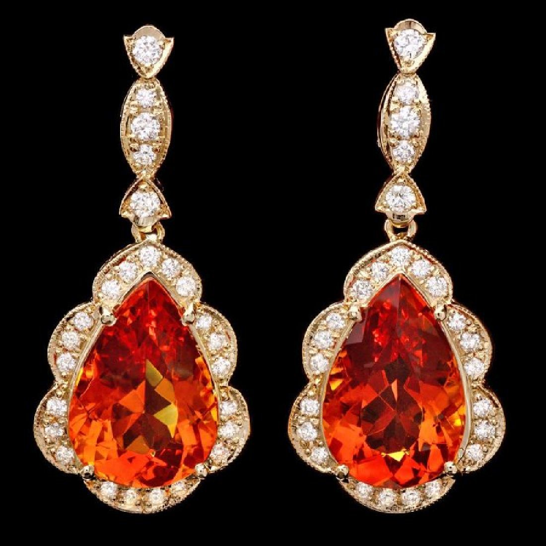14k Gold 17ct Citrine 1.40ct Diamond Earrings