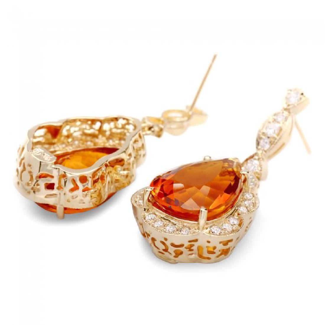 14k Gold 17ct Citrine 1.40ct Diamond Earrings - 2