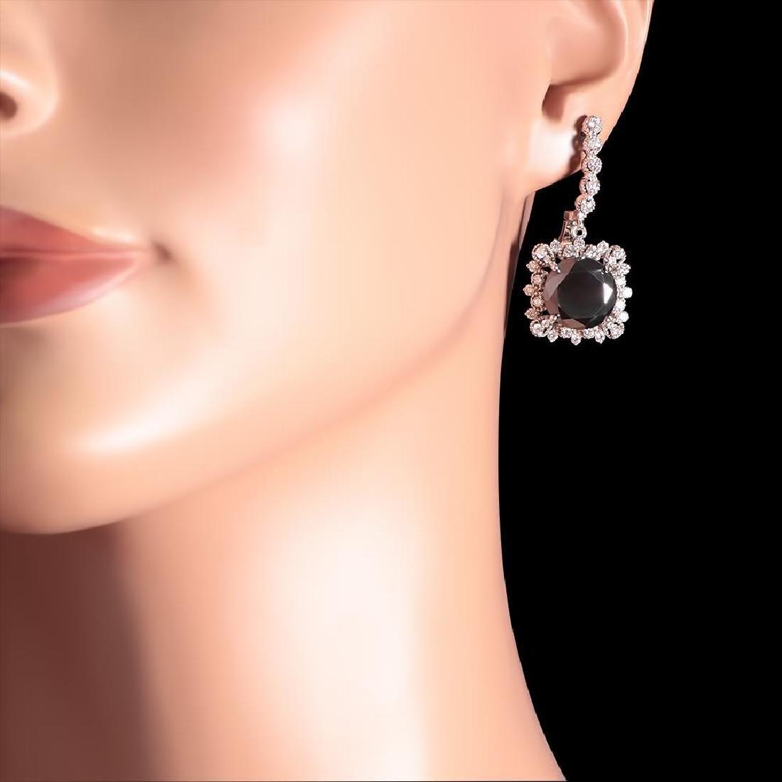 14k White Gold 13.88ct Diamond Earrings - 3