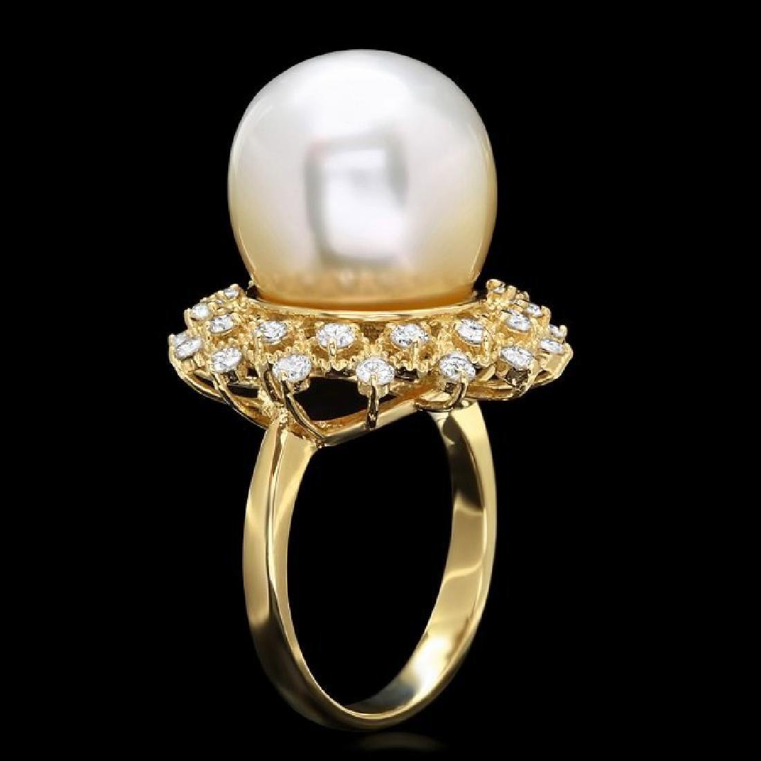 14k Gold 14 X 14mm Pearl 1.00ct Diamond Ring - 2