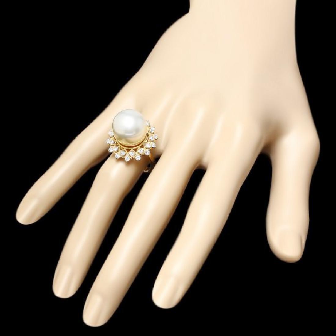 14k Gold 14 X 14mm Pearl 1.00ct Diamond Ring - 3