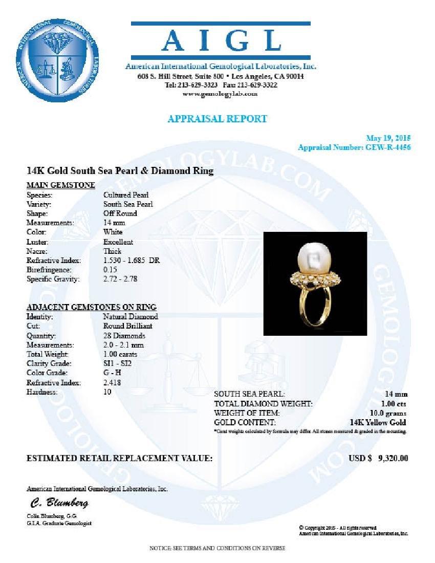 14k Gold 14 X 14mm Pearl 1.00ct Diamond Ring - 4