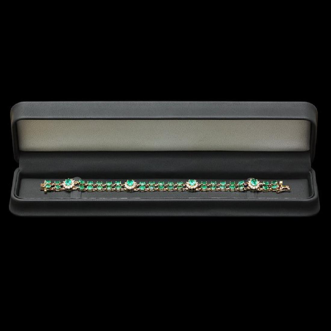 14k Gold 12.00ct Emerald 1.50ct Diamond Bracelet - 5