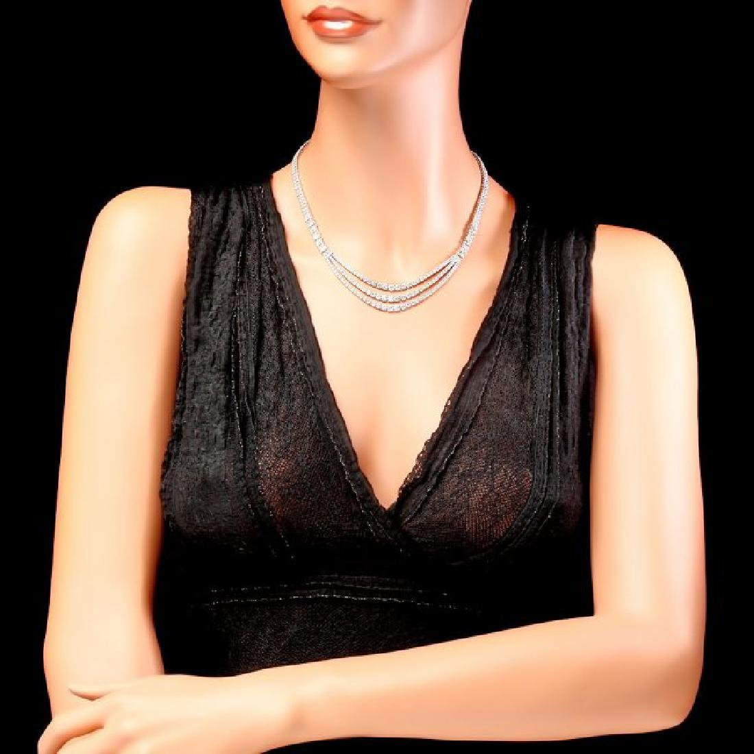18k White Gold 23ct Diamond Necklace - 3