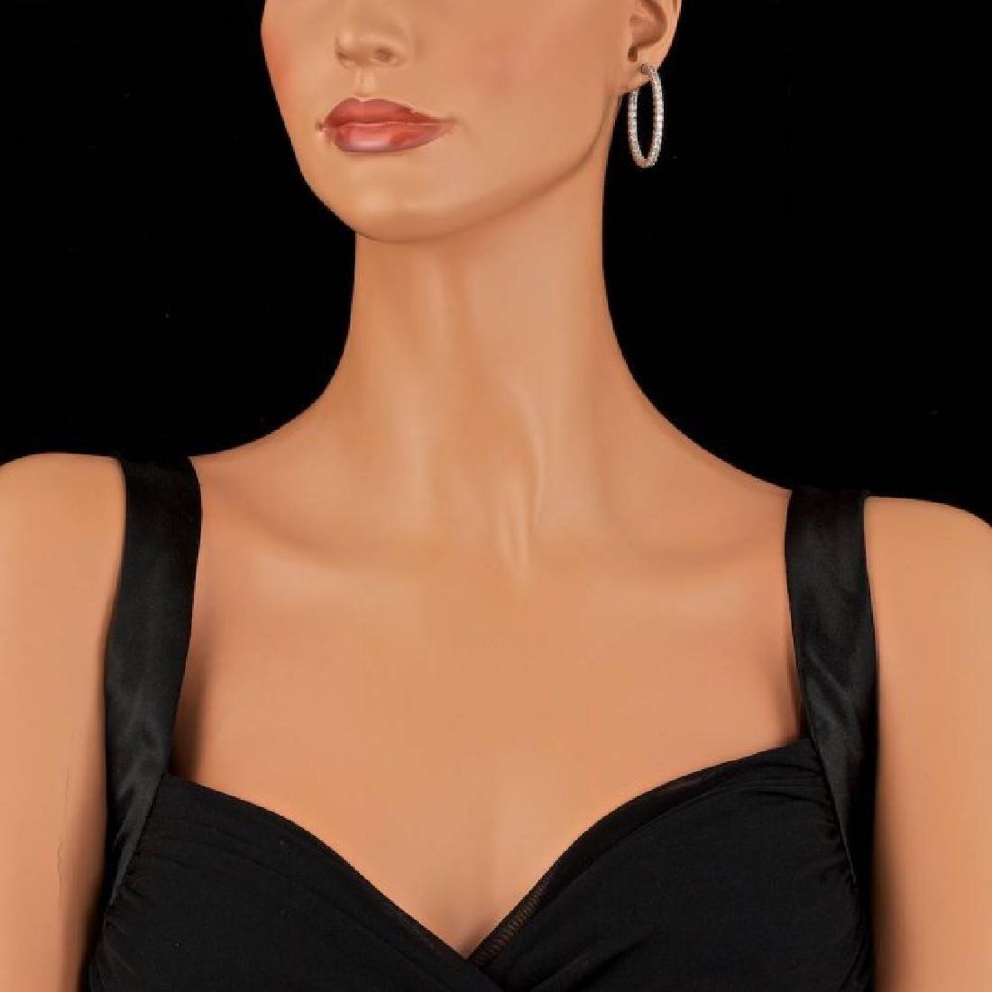 14k White Gold 4.50ct Diamond Earrings - 4