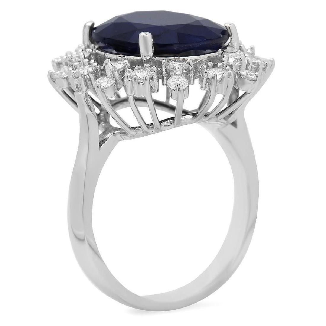 14K Gold 8.67ct Sapphire 0.93ct Diamond Ring - 2