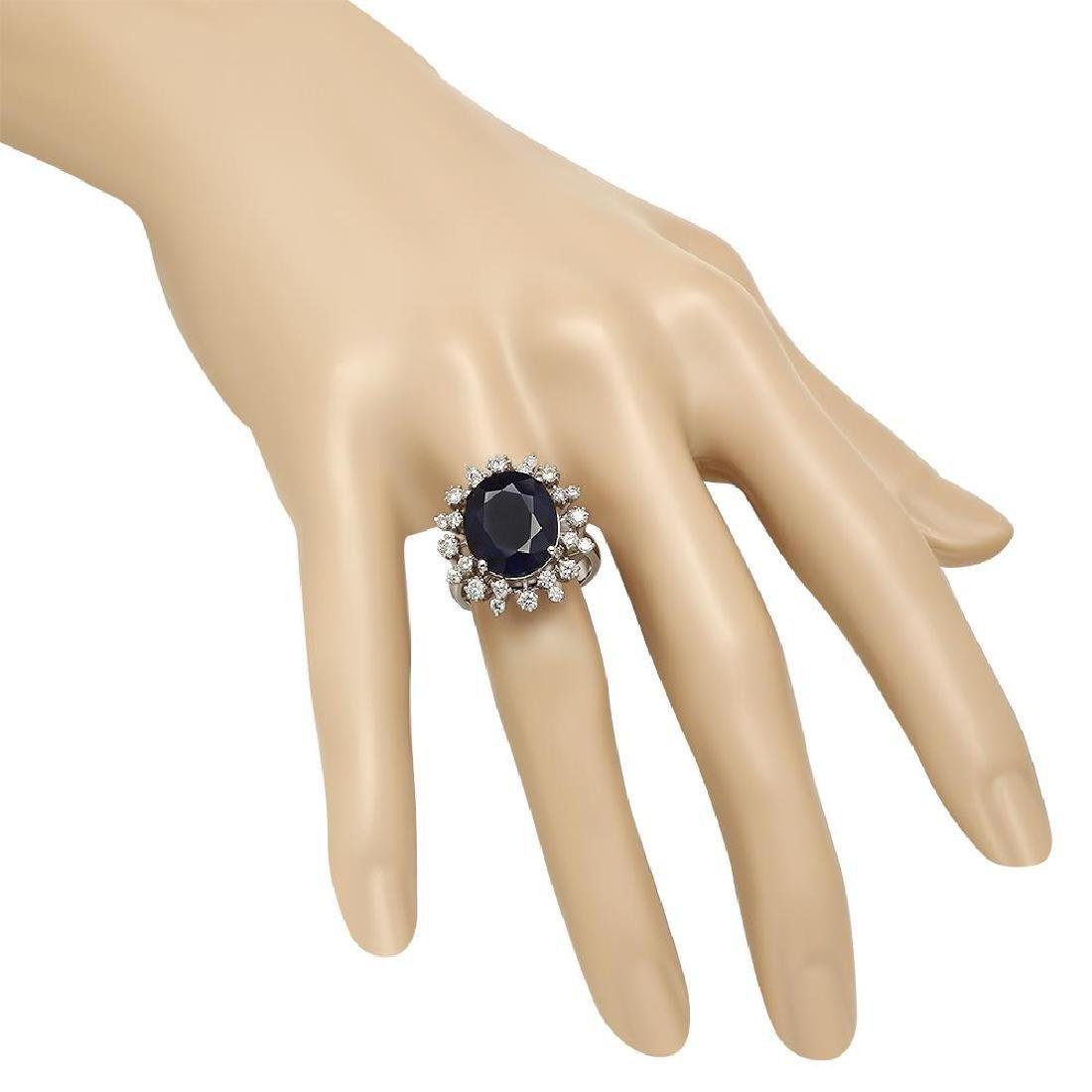 14K Gold 8.67ct Sapphire 0.93ct Diamond Ring - 3