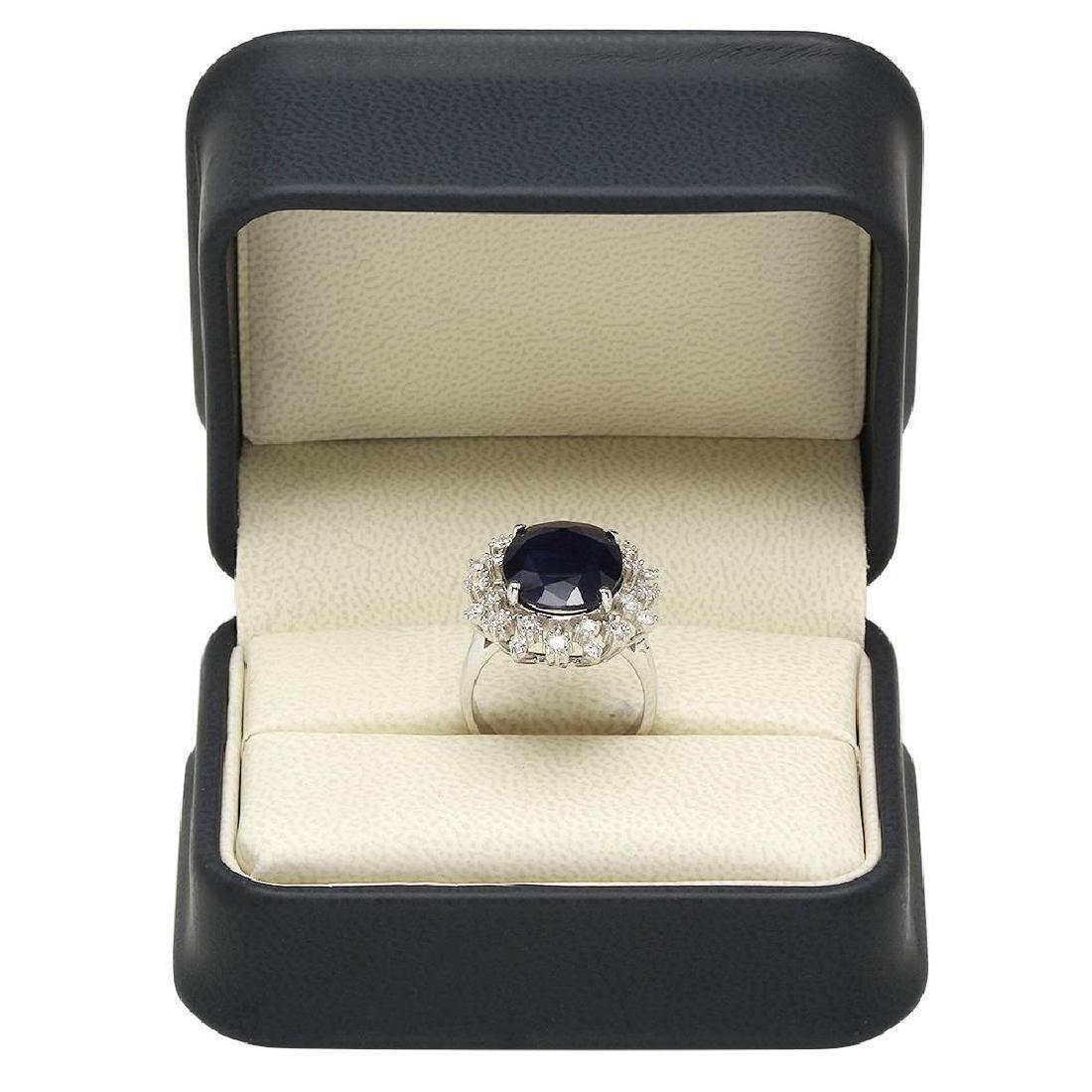 14K Gold 8.67ct Sapphire 0.93ct Diamond Ring - 4