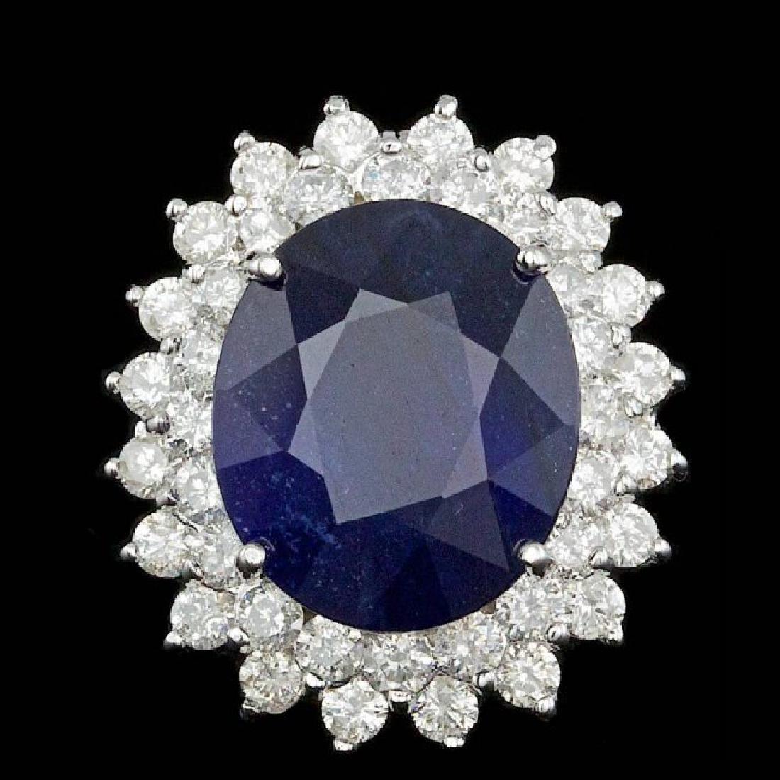 14k Gold 13.50ct Sapphire 2.25ct Diamond Ring