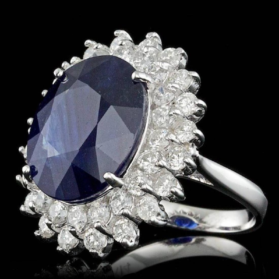 14k Gold 13.50ct Sapphire 2.25ct Diamond Ring - 2
