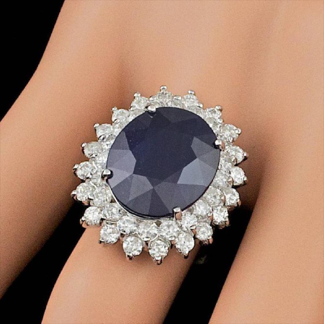 14k Gold 13.50ct Sapphire 2.25ct Diamond Ring - 4