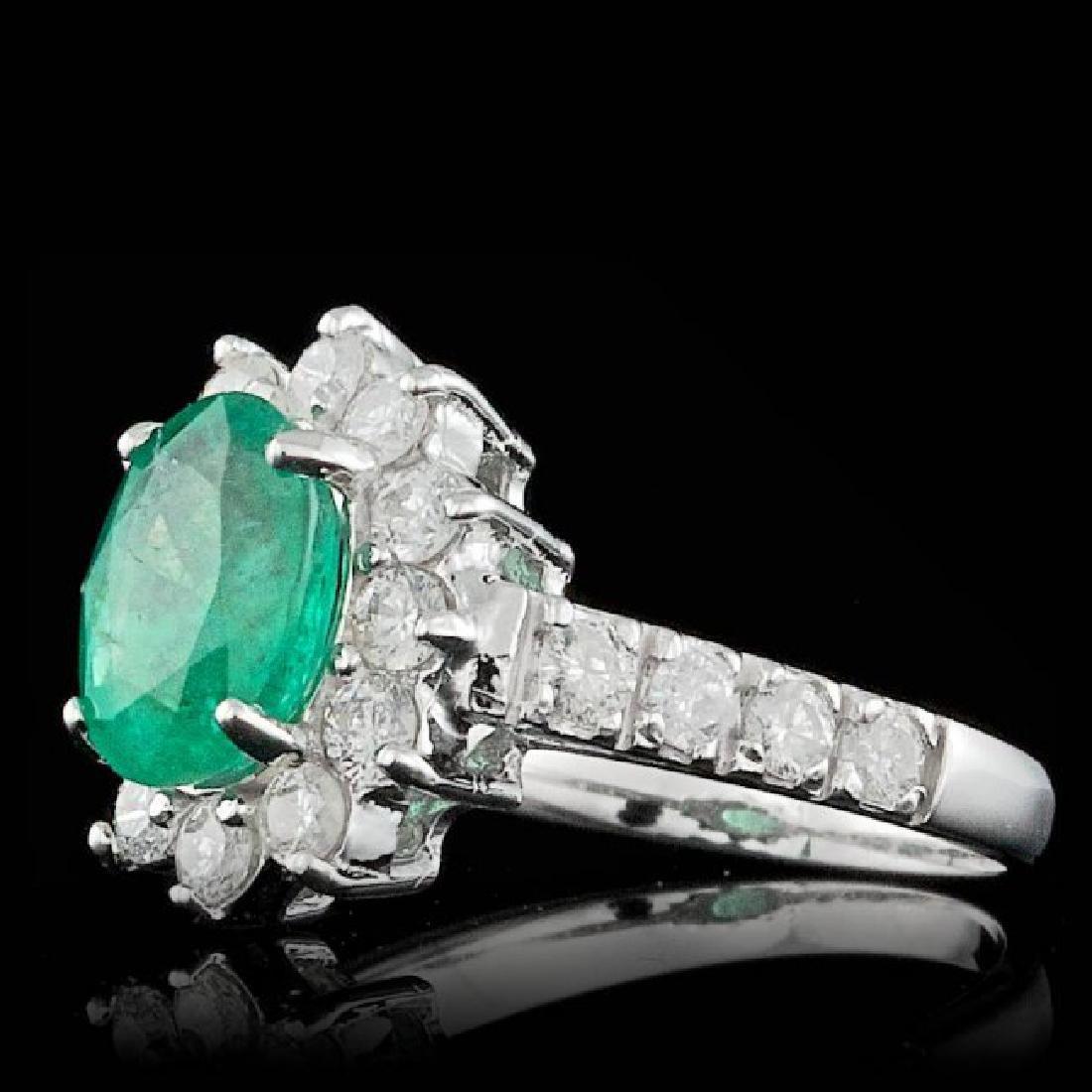 14k White Gold 1.70ct Emerald 0.90ct Diamond Ring - 2