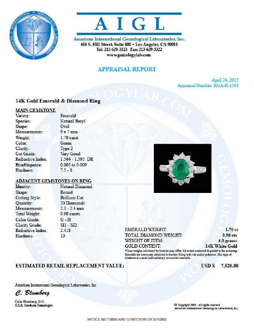 14k White Gold 1.70ct Emerald 0.90ct Diamond Ring - 5