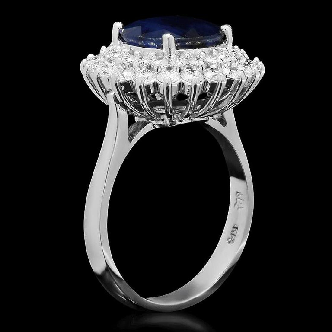 14K Gold 3.48ct Sapphire 1.12ct Diamond Ring - 2