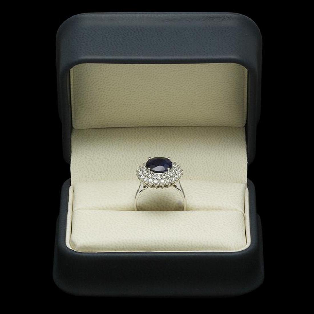 14K Gold 3.48ct Sapphire 1.12ct Diamond Ring - 3