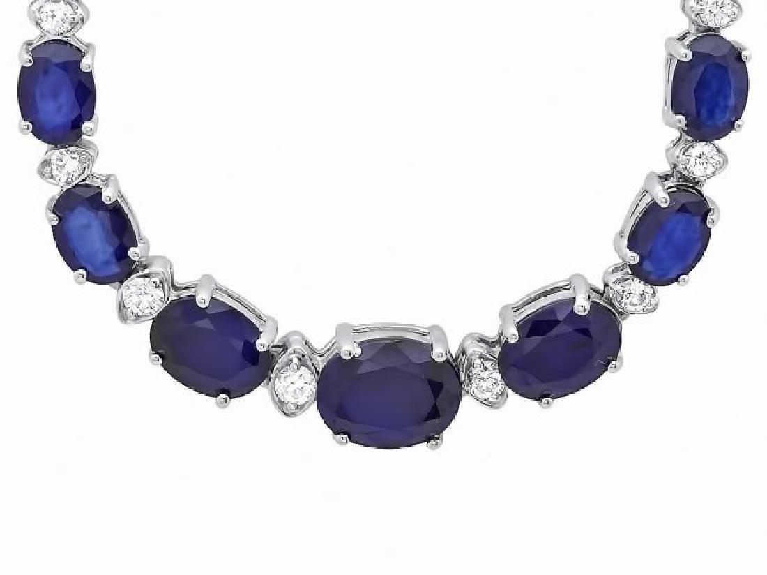 14k Gold 30ct Sapphire 1.35ct Diamond Necklace - 3