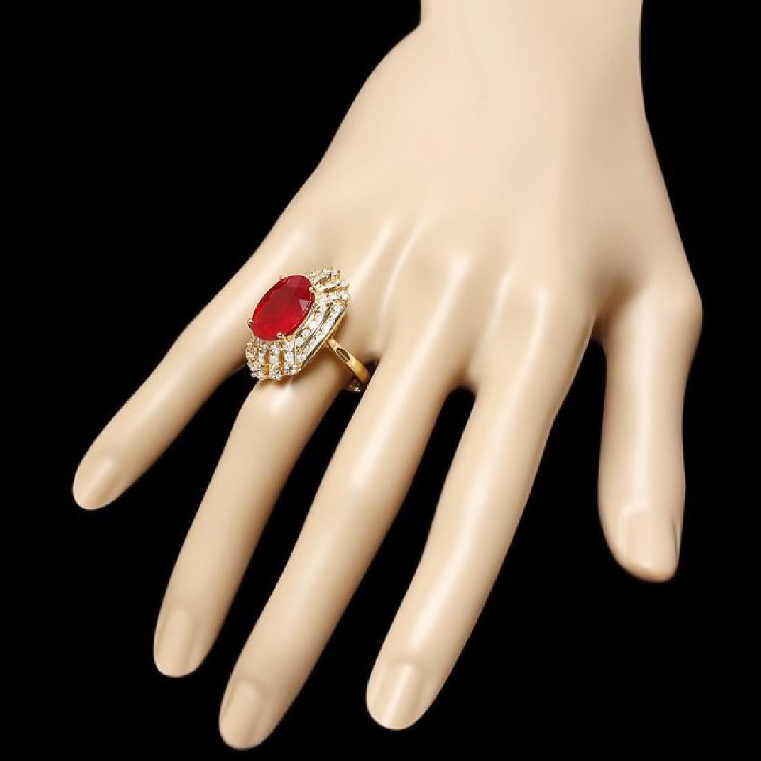 14k Yellow Gold 10.00ct Ruby 2.00ct Diamond Ring - 3
