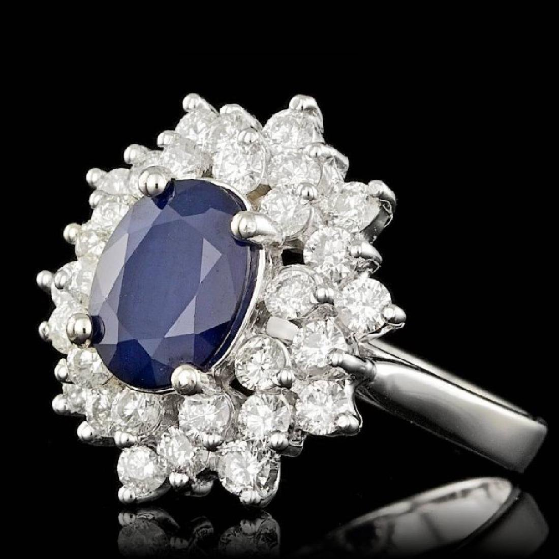 14k Gold 2.00ct Sapphire 1.45ct Diamond Ring - 2