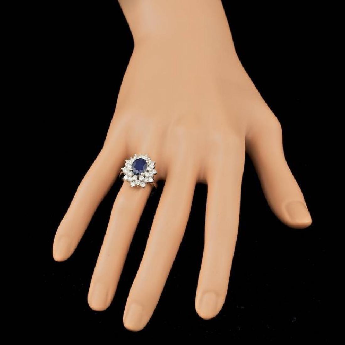 14k Gold 2.00ct Sapphire 1.45ct Diamond Ring - 3