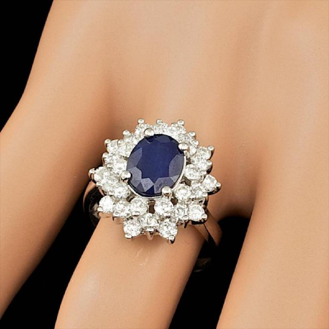 14k Gold 2.00ct Sapphire 1.45ct Diamond Ring - 4