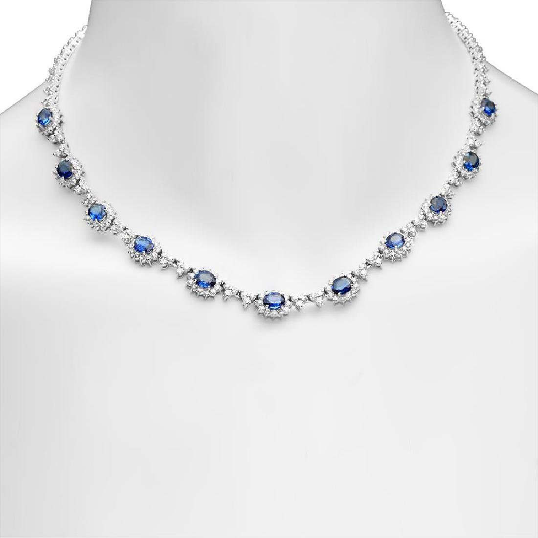 14K Gold 7.88ct Sapphire 8.79cts Diamond Necklace