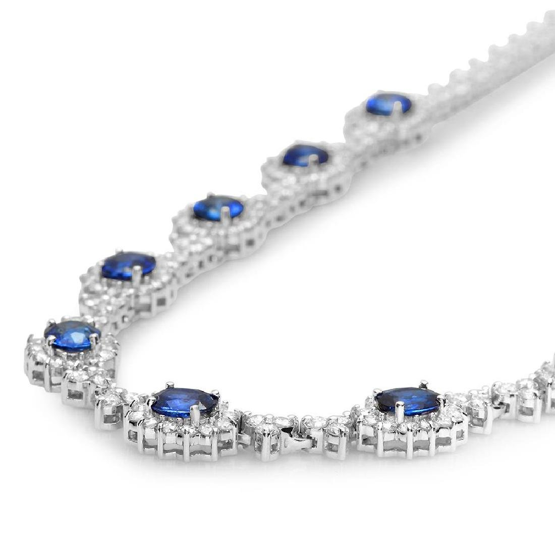 14K Gold 7.88ct Sapphire 8.79cts Diamond Necklace - 2