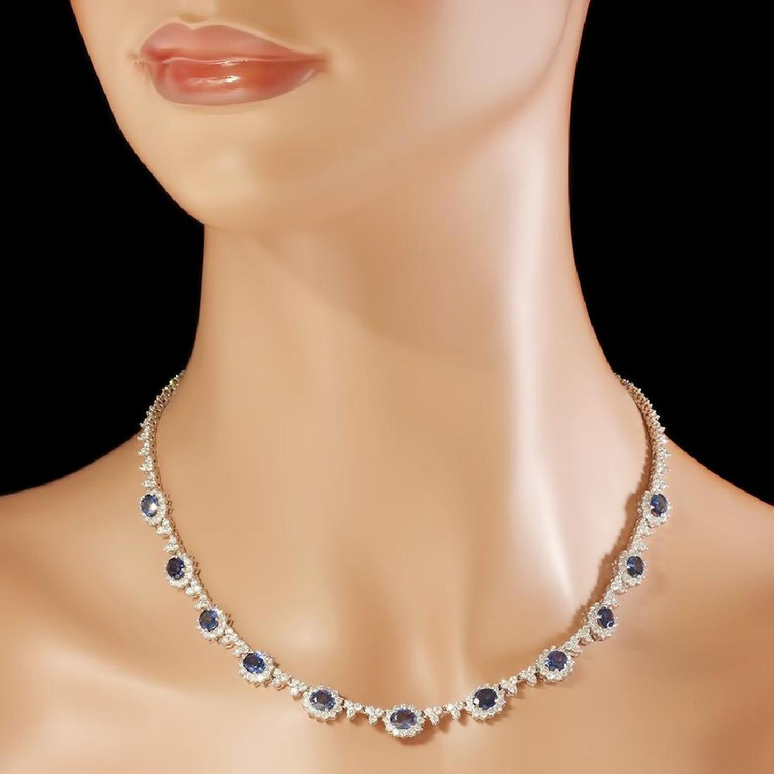 14K Gold 7.88ct Sapphire 8.79cts Diamond Necklace - 3
