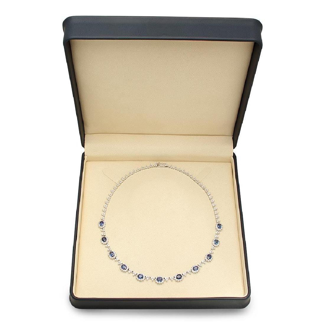 14K Gold 7.88ct Sapphire 8.79cts Diamond Necklace - 4