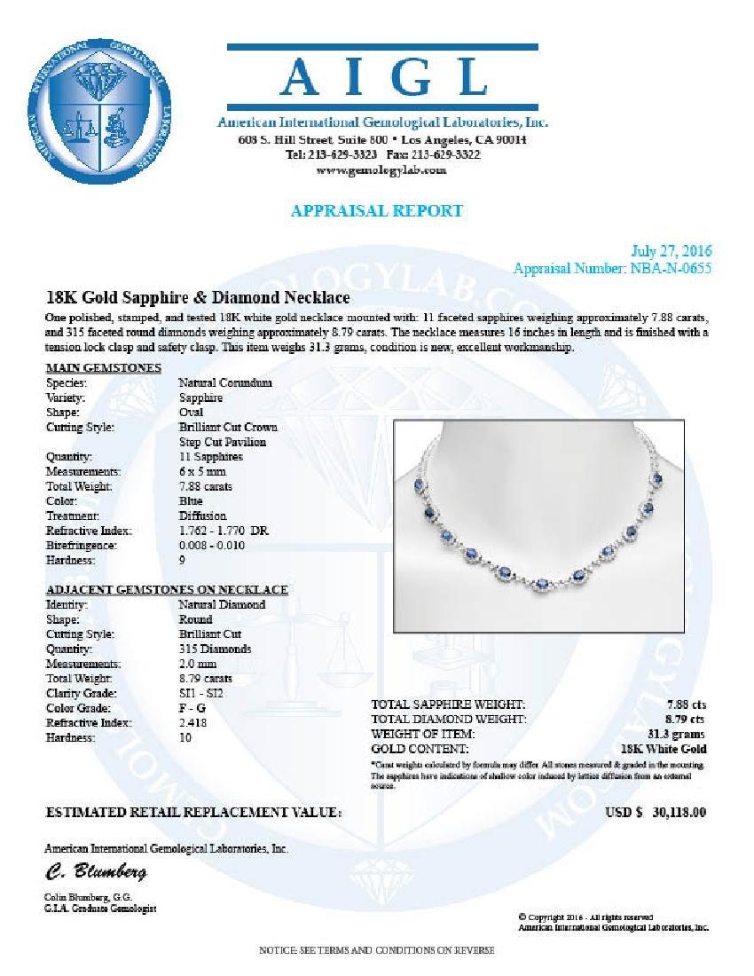 14K Gold 7.88ct Sapphire 8.79cts Diamond Necklace - 5
