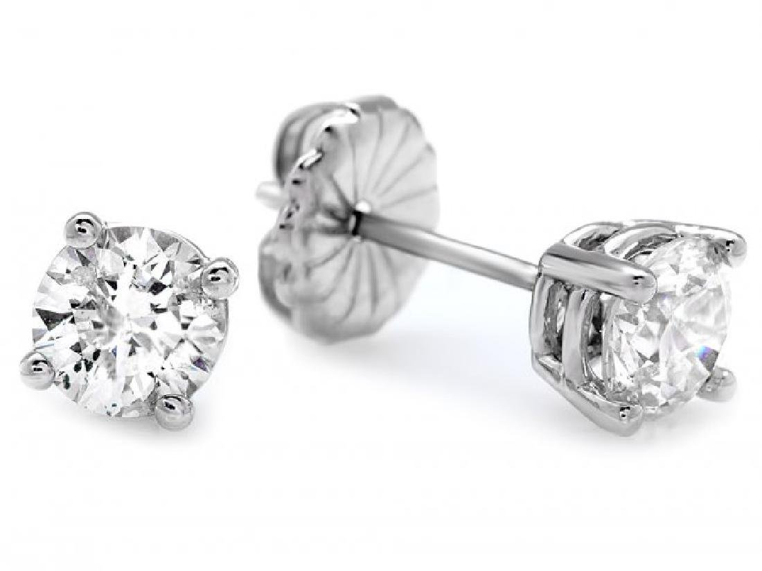 14k White Gold 1.20ct Diamond Earrings - 2