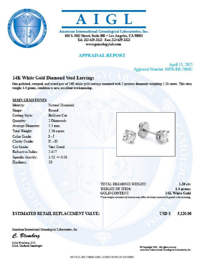 14k White Gold 1.20ct Diamond Earrings - 5