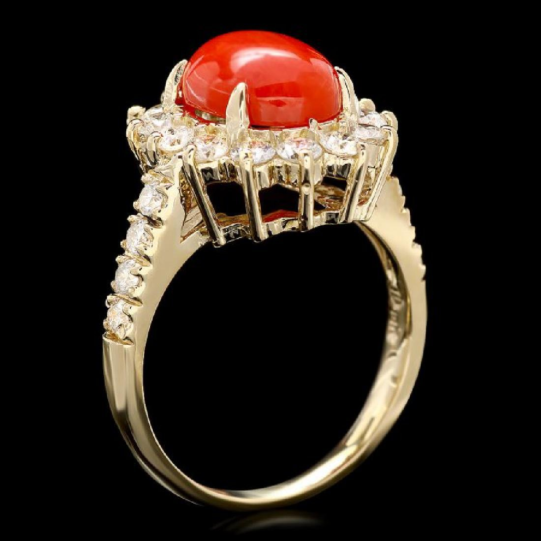 14k Yellow Gold 2.50ct Coral 1.20ct Diamond Ring - 3