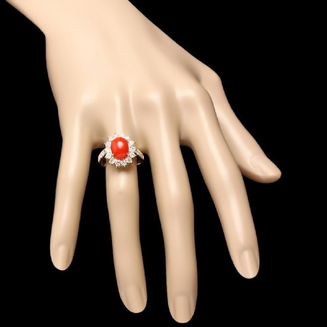 14k Yellow Gold 2.50ct Coral 1.20ct Diamond Ring - 4