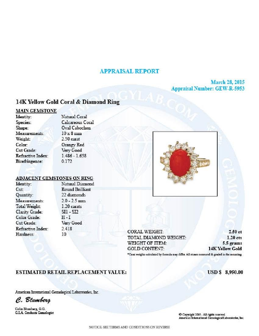 14k Yellow Gold 2.50ct Coral 1.20ct Diamond Ring - 5
