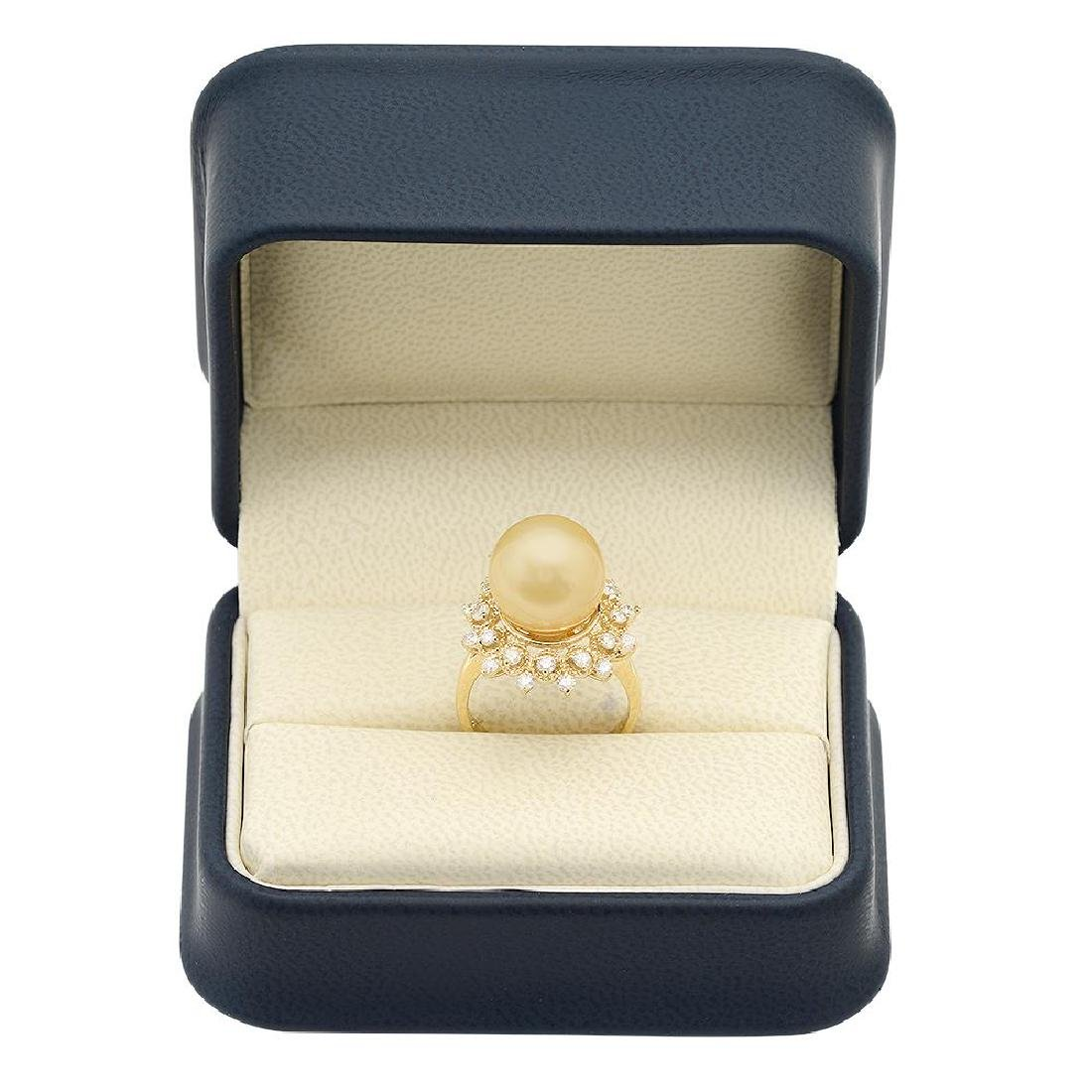 14K Gold 12mm Pearl 0.77cts Diamond Ring - 4