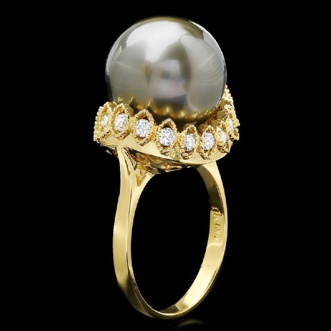 14k Gold 14 X 14mm Pearl 0.64ct Diamond Ring - 2