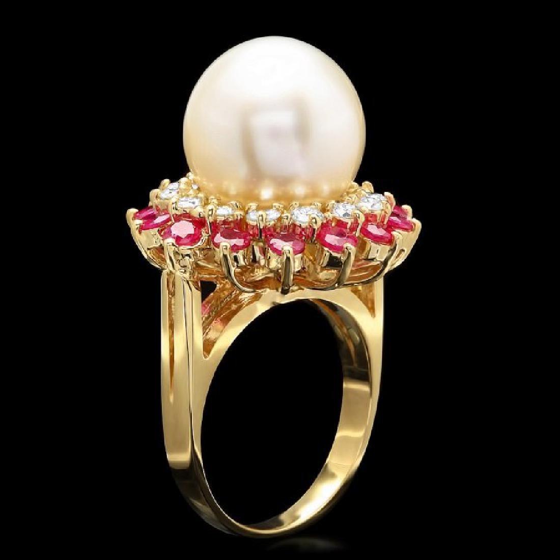 14k Gold 13 X 13mm Pearl 0.80ct Diamond Ring - 2