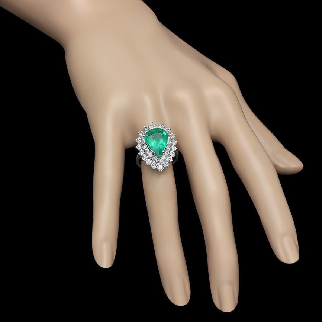 14K Gold 4.89 Emerald 2.65 Diamond Ring - 3
