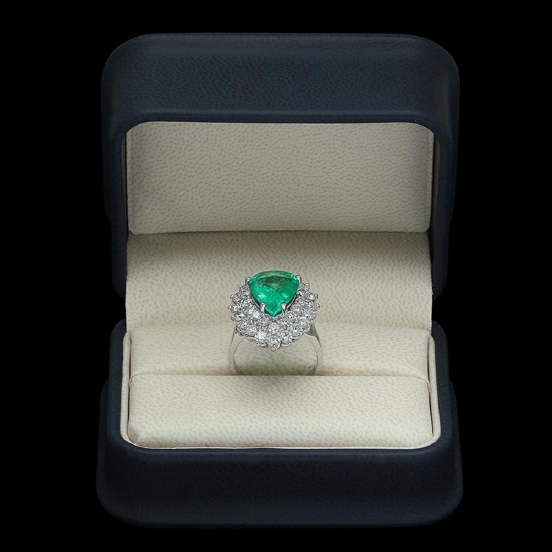 14K Gold 4.89 Emerald 2.65 Diamond Ring - 4