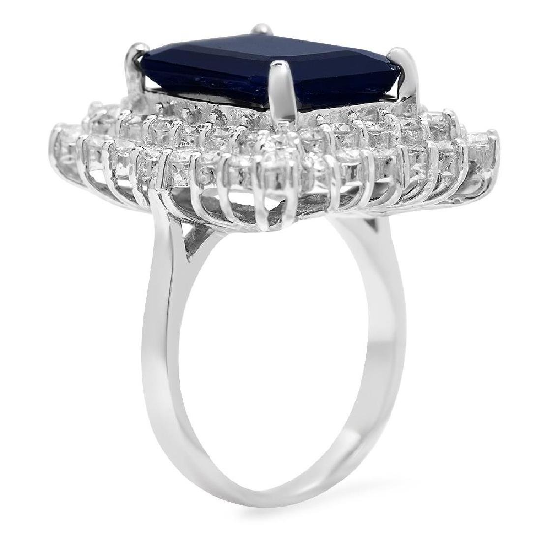 14K Gold 10.40ct Sapphire 2.69ct Diamond Ring - 2