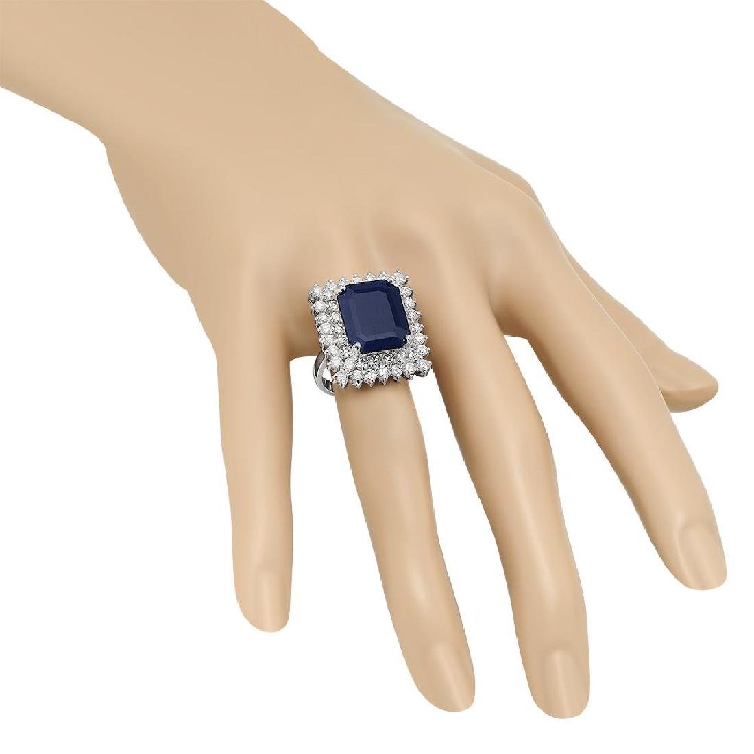 14K Gold 10.40ct Sapphire 2.69ct Diamond Ring - 3
