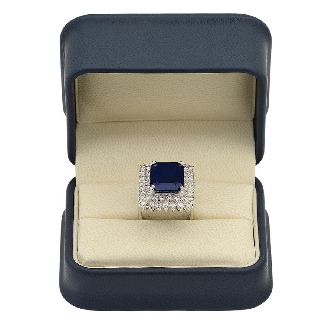 14K Gold 10.40ct Sapphire 2.69ct Diamond Ring - 4
