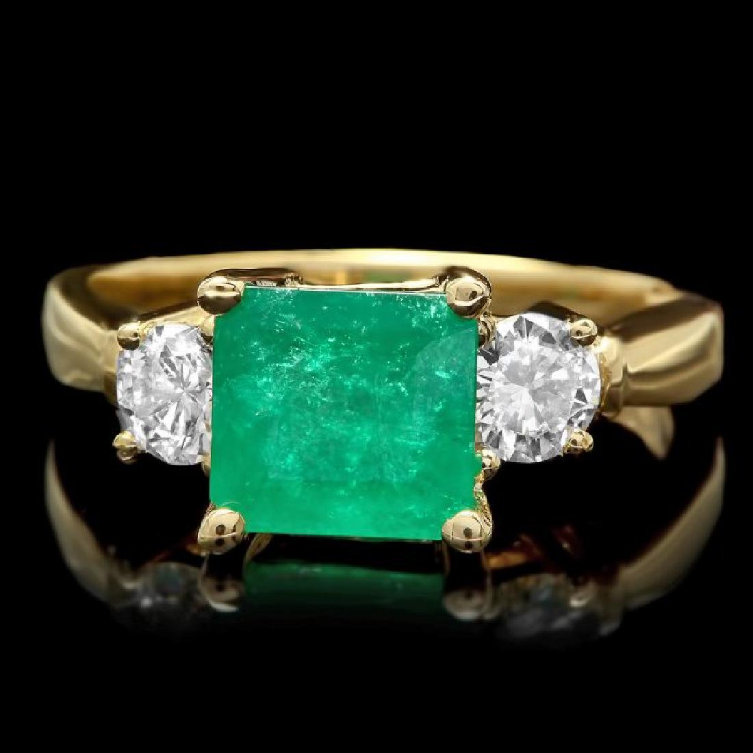 14k Gold 2.00ct Emerald 0.60ct Diamond Ring