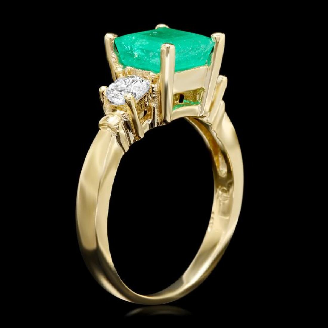 14k Gold 2.00ct Emerald 0.60ct Diamond Ring - 2