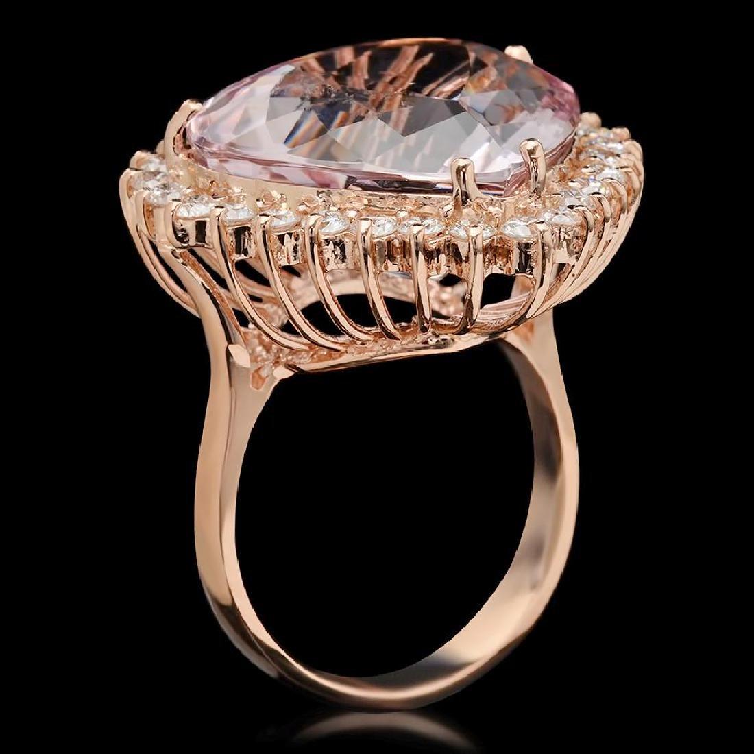 14K Gold 17.17ct Kunzite 1.21ct Diamond Ring - 2