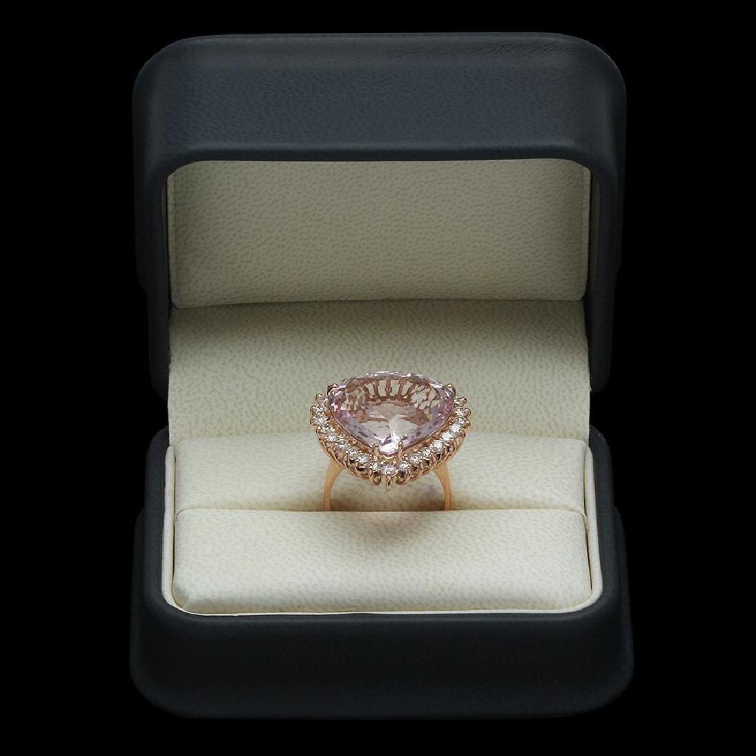 14K Gold 17.17ct Kunzite 1.21ct Diamond Ring - 4