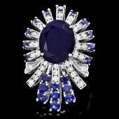 14k White Gold 8ct Sapphire 1.00ct Diamond Ring