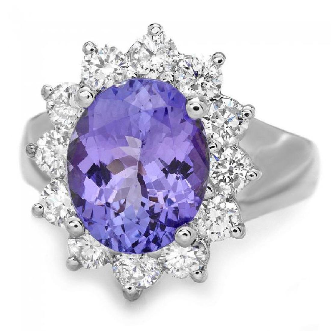 14k Gold 3.50ct Tanzanite 1.30ct Diamond Ring - 2