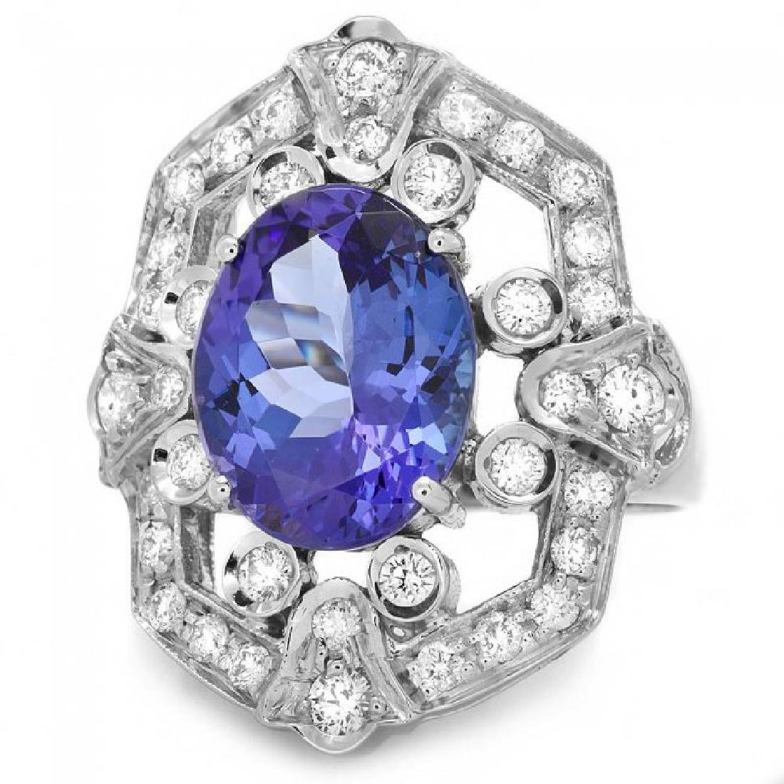 14k Gold 5.50ct Tanzanite 1.00ct Diamond Ring - 2