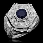 14K Gold 186ct Sapphire  125ct Diamond Ring